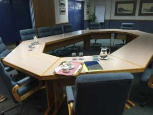 A before picture of the board room.