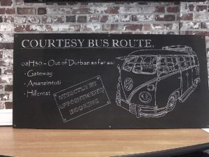 Hand drawn chalkboard for shuttle times.